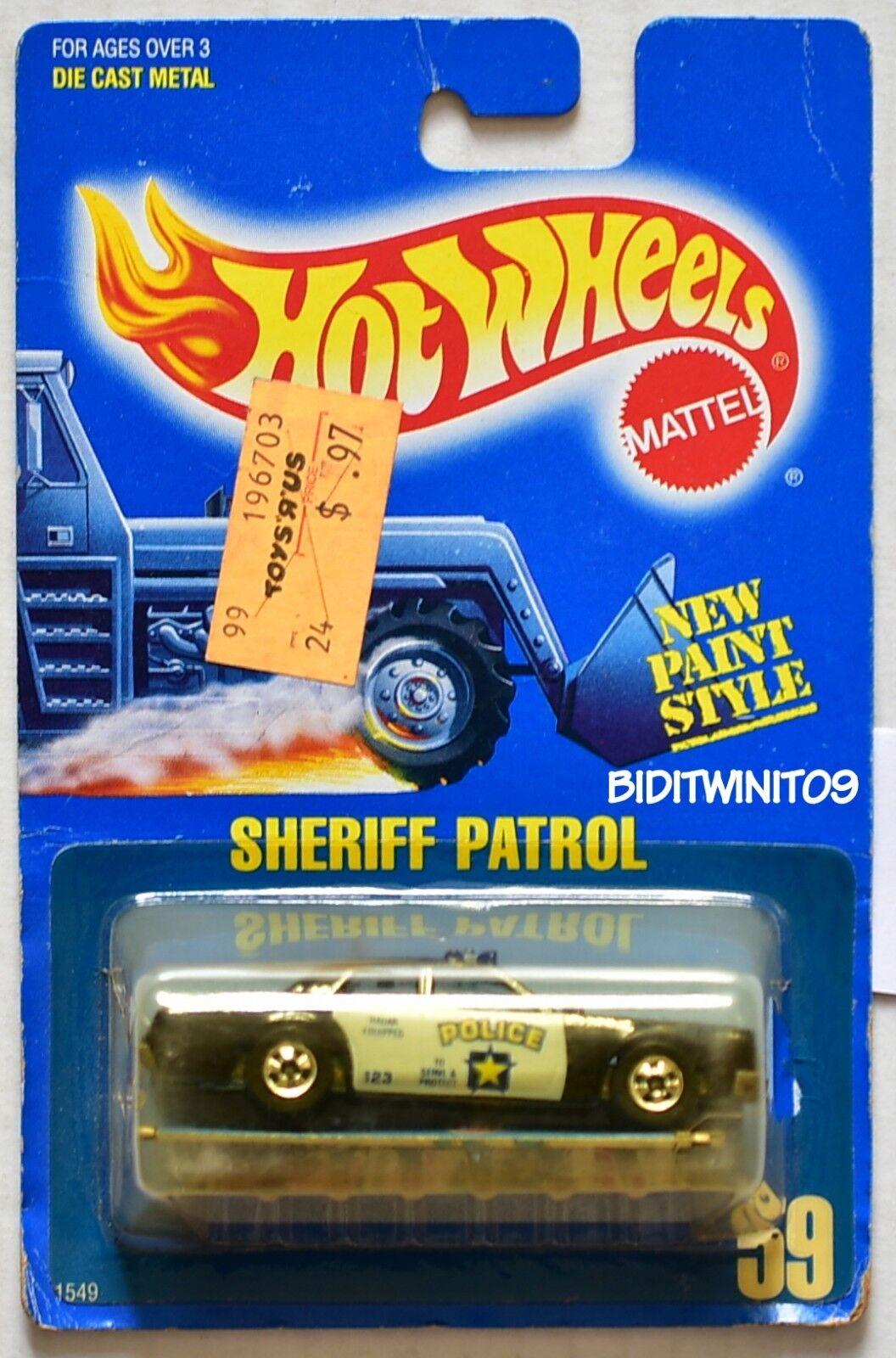 Hot Wheels 2018 Azul Tarjeta Sheriff Patrol 59 en Tampo con / Marrón Interior