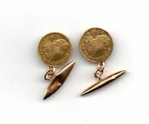 2 Monedas De Oro De Carlos Iii Durillo Montado En Gemelos Ocasion AÑo 1779
