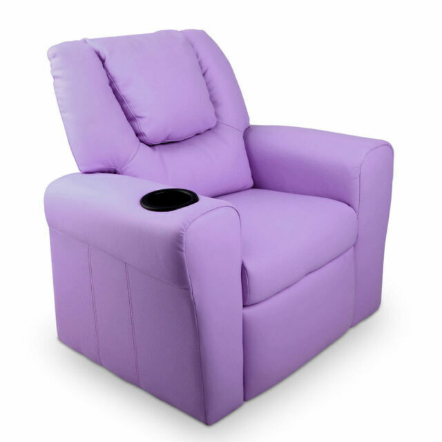 Luxury Kids Recliner Sofa Children Lounge Chair Padded Leather Armchair Purple