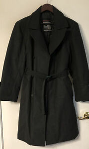 Vintage Mammut Women's Double Breasted Trench Coat Dark Gray Classic black tie