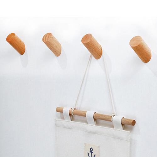 Solid Wooden Wall Hook Pegs Hallway Coat Hanger Modern Coat Scarf Hat Hook HU