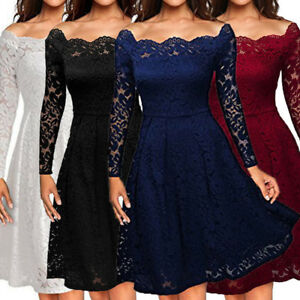 ea6e0f62b92a Image is loading Women-Floral-Lace-Formal-Cocktail-Evening-Party-Dress-