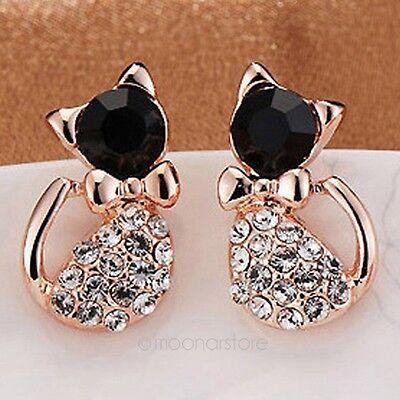Charming Lovely Black Cat Golden Shinning Crystal Rhinestone Ear Stud Earrings