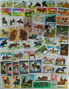 HORSES on stamps, a beautiful collection of 200 different stamps, Nice! (lot#DP)