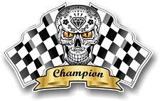 Mexican Sugar Skull & Chequered Racing Race Champion Flags car helmet sticker
