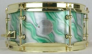 Click-Drums-Custom-5x10-Mint-Polar-Pearl-10ply-Maple-Snare-Drum-Brass-Tube-Lugs