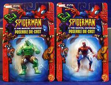 New SPIDER-MAN & THE HULK - 2 Miniature Poseable DIE-CAST Metal Figures TOY BIZ