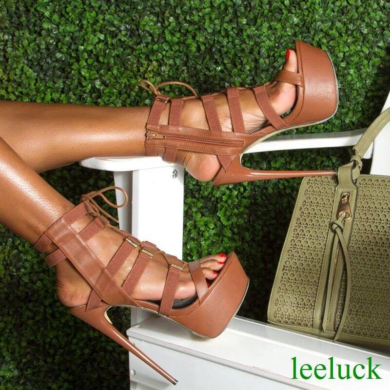 fino al 42% di sconto Nightclub Nightclub Nightclub donna Slingbacks Platform Super Stilettos Heels Sandals Zipper Pumps  vendite calde