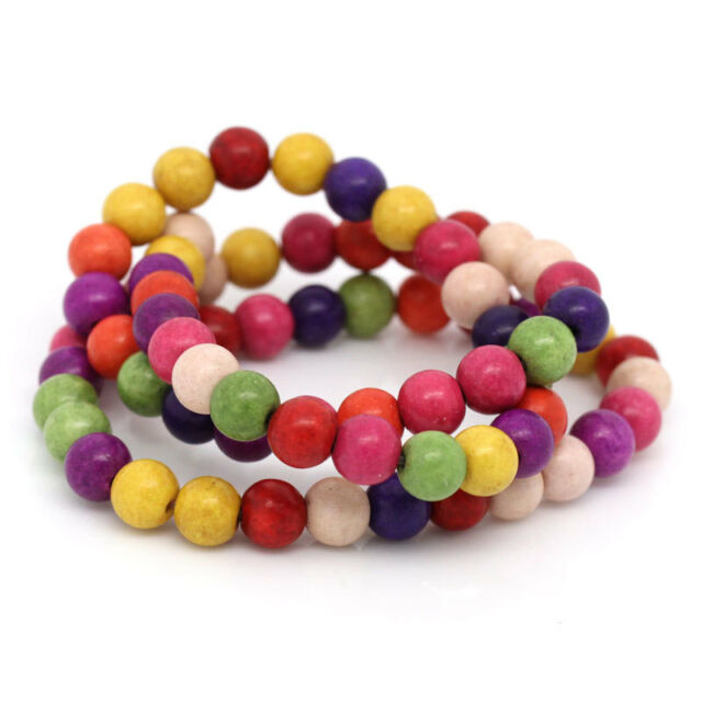 """2Strands(2x70PCs) Hot Mixed Howlite Turquoise Round Loose Beads 6mm(1/4"""")40cm"""
