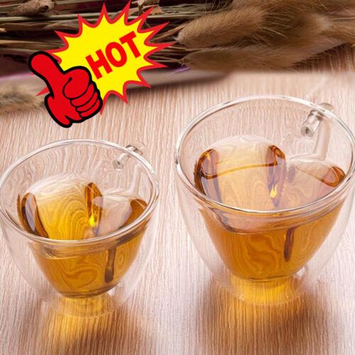 240ml Double Wall Love Heart Glass Tea Coffee Cup Heat-resistant Clear Mug HOT