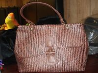 Prix De Dressage-straw+leather Satchel W/toggle Closure-chocolate-made In Italy