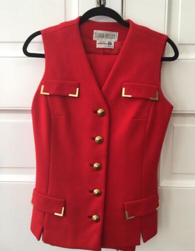 Vintage 60s Georgia Bullock Red Wool Vest Pant Sui