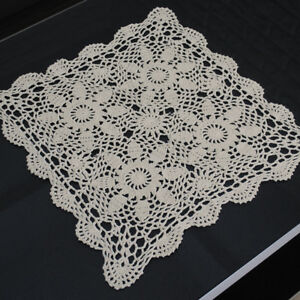 Vintage-Hand-Crochet-Lace-Doily-Table-Topper-Beige-Square-Table-Cloth-Cover-15-034