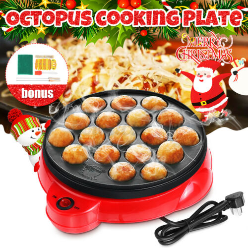650W Takoyaki Grill Pan Electric Octopus Ball Maker Stove Cooking Plate 18 Holes