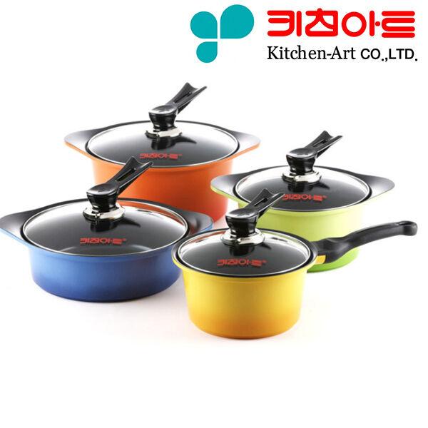 [KitchenArt]Ecoramic Ceramic Pots Die Casting Ceramic Coating Kitchenware 4 set