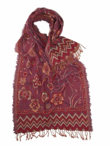 100/% Pure Wool Royal Valley Large Red Floral Jacquard Scarf