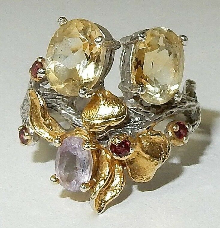 NATURAL CITRINE, AMETHYST, RHODOLITE RING IN MULTI-TONE gold OVERLAY 925 SS