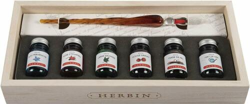 6 Inks With A Glass Quill Pen J Herbin Limited Edition Calligraphy Gift Set