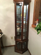 Item 2 Corner U0027Curio Display Cabinetu0027 Glass Shelves 5 Mirrored Lighted..VG  Condition!  Corner U0027Curio Display Cabinetu0027 Glass Shelves 5 Mirrored Lighted.
