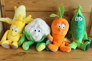 4-x-Goodness-Gang-Soft-Toy-Plush-Carrot-Pea-Cauliflower-and-Banana-x3-with-Tag