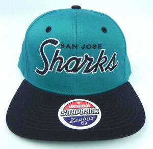 buy online 8a717 ef16a Image is loading SAN-JOSE-SHARKS-NHL-VINTAGE-SCRIPT-SNAPBACK-BLACK-