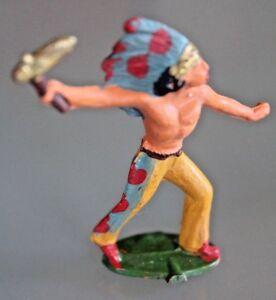 Figuerchen-Plastik-Starlux-Indisch-mit-Tomahawk-Jahre-60
