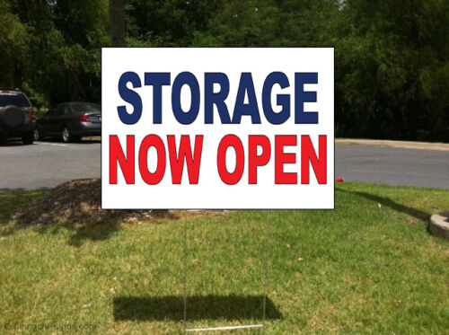 Storage Now Open Blue Red Corrugated Plastic Yard Sign //Free Stakes