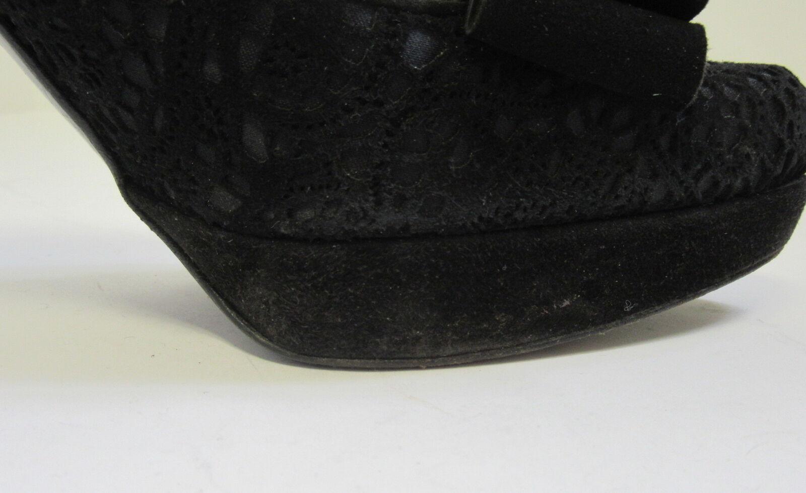 STUART WEITZMAN BLACK SUEDE LACE LACE LACE PLATFORMED PUMPS SZ 7.5 995fe2