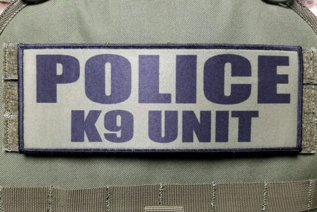 """3x8/"""" POLICE K9 UNIT OD Green Tactical Hook Plate Carrier Morale Raid Patch SWAT"""