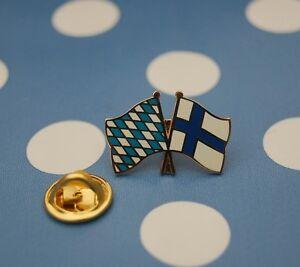 Freundschaftspin-Bayern-Finland-Finnland-Pin-Button-Badge-Anstecknadel-Anstecker