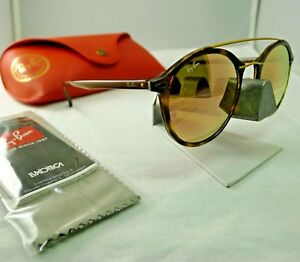cb66e11aeed RAY-BAN RB4266 710 2Y TORTOISE COPPER PINK MIRROR ROUND SUNGLASSES ...