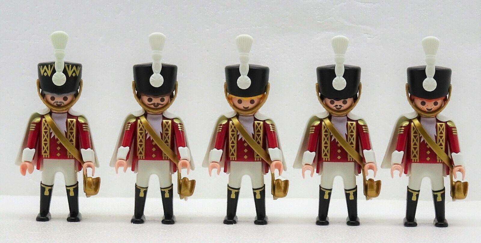5 x GARDE HUSAR SOLDAT Playmobil zu Rotröcke Dragoner Umhang Stiefel Rot Gold