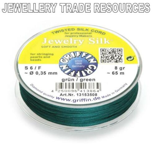 GREEN SILK STRING THREAD 0.35mm FOR STRINGING PEARLS /& BEADS GRIFFIN SIZE 6//F