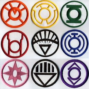 Blackest-Night-Lantern-Corps-Classic-Style-8-034-Patch-Set-9-patch-set-Iron-on