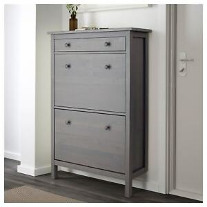 Details About Ikea Hemnes Shoe Cabinet Storage With 2 Compartments 1 Drawer  Dark Gray Stained
