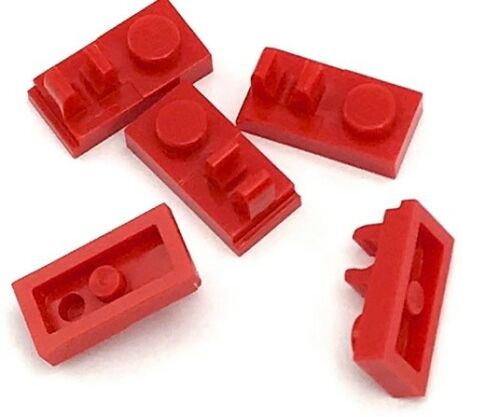 Lego 5 New Red Plates Modified 1 x 2 with Clip on Top Pieces