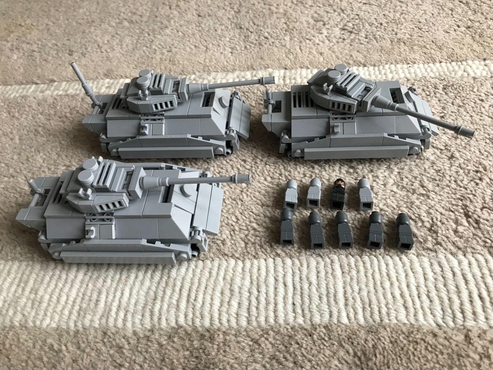 Original LEGO PARTS - MICRO - 3 KING TIGER TANK + 9 soldiers - my design CUSTOM