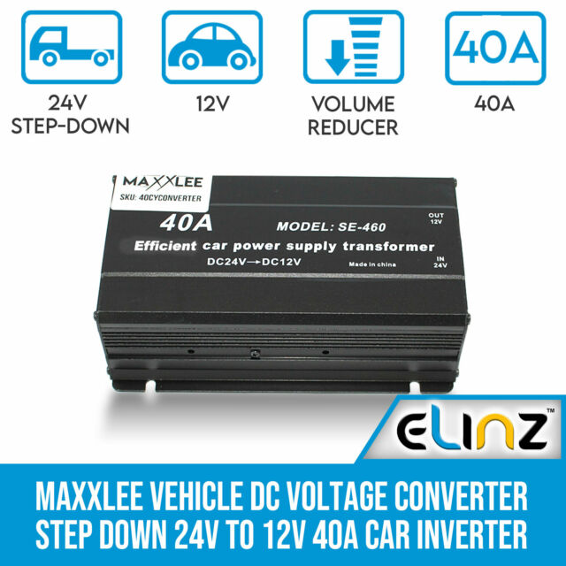 Vehicle DC Voltage Converter Step down 24V to 12V 40A Car Truck Inverter Maxxlee