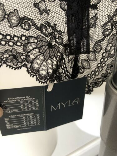BNWT Myla Nicole Brazilian Briefs in Black//Nude Medium RRP £45.00