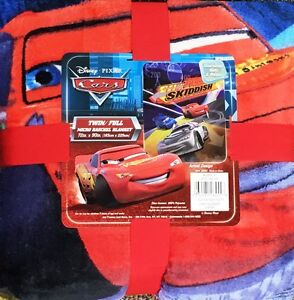 Disney-Pixar-Cars-Plush-Micro-Raschel-Twin-Full-Throw-Blanket-72-034-X-90-034-NEW