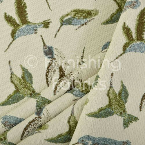 Blue Green Bird Animal Pattern Fabric Soft Woven Chenille Upholstery New Fabric