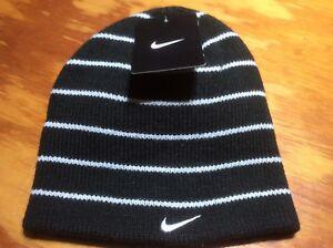 fdb4d307b81 Nike Striped Hat Beanie Black white Hat Winter Ski One Size Youth ...
