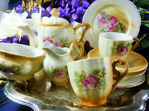 GERMAN-CHILDS-TEA-SET-BLUSH-TONES-WITH-HP-PINK-ROSES-DELIGHTFUL-SET-c1900s