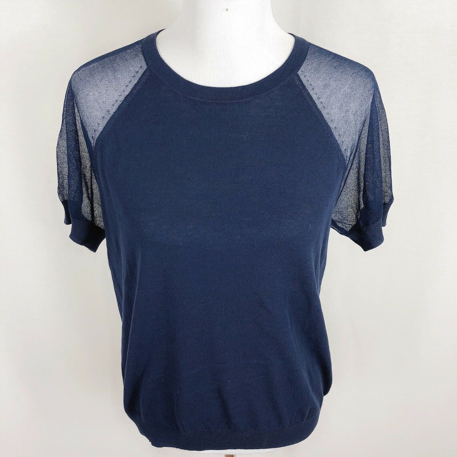 NEW J.Crew Women Small Navy bluee Two Tone Sheer Sleeve Crepe Sweater Top NWT  65