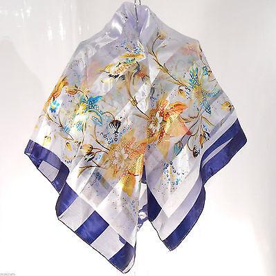 Compiacente Echarpe Foulard Carré Etole Femme 95 X 95 Cm Bleu Gris Fleur Bérénice Zaza2cats