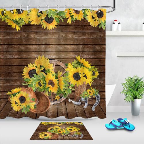 Sunflower Wheel On Rustic Wooden Board Fabric Shower Curtain Set Bathroom Decor
