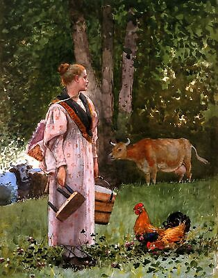 Girl and Laurel  by Winslow Homer  Giclee Canvas Print Repro