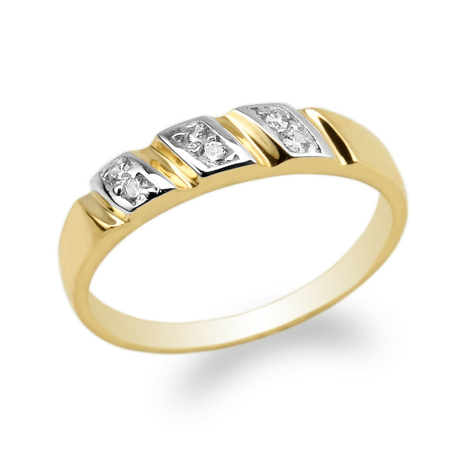 10K 14K Yellow gold Two Tone Round CZ Twirl Shaped Ring Size 4-10