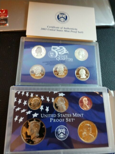 2003 United States Mint Proof 10 Coin Set in Box with COA