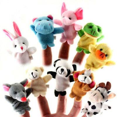 10PCS Finger Puppets Zoo Farm Animal Plush Soft Family Story Toy Baby Children
